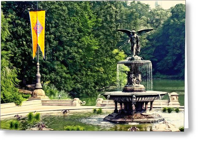 Bethesda Fountain Greeting Cards - Bethesda Fountain Central Park Greeting Card by Nishanth Gopinathan