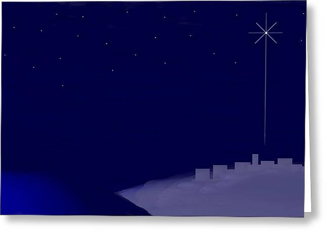 Lion And The Lamb Greeting Cards - Bethlehem Star Nativity Landscape Greeting Card by L Brown
