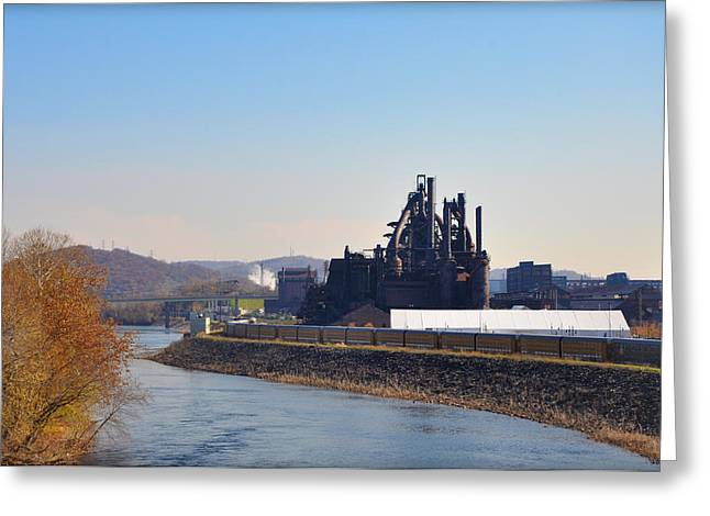 Bethlehem Steel and the Lehigh River Greeting Card by Bill Cannon