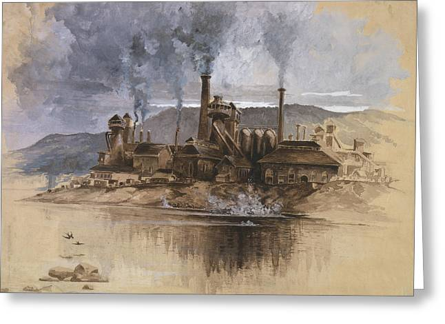 Historic Drawings Greeting Cards - Bethlehem Steel Corporation Circa 1881 Greeting Card by Aged Pixel