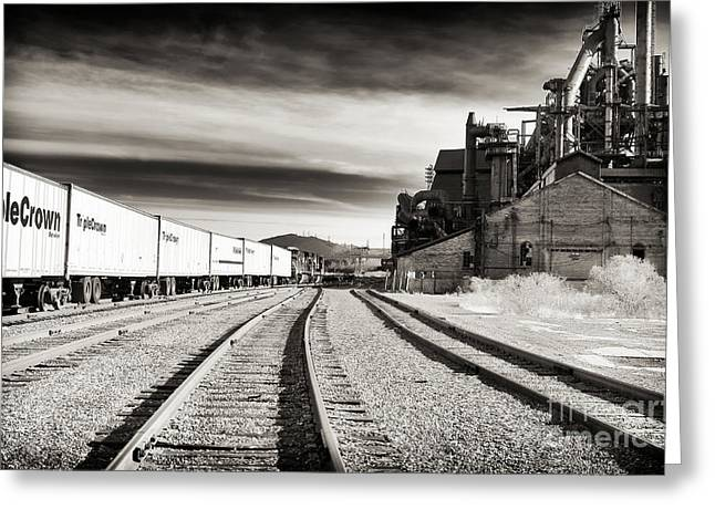 Black And White Train Track Prints Greeting Cards - Bethlehem Tracks Greeting Card by John Rizzuto