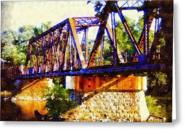 Train On Bridge Greeting Cards - Train Trestle Bridge Greeting Card by Janine Riley