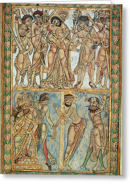 Betrayal And Flagellation Greeting Card by British Library