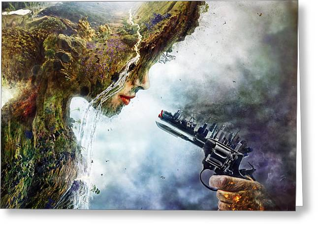Surreal Landscape Greeting Cards - Betrayal Greeting Card by Mario Sanchez Nevado