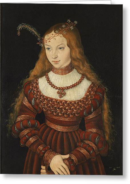 Tiara Greeting Cards - Betrothal Portrait Of Sybille Of Cleves, 1526-7 Oil On Panel Greeting Card by Lucas, the Elder Cranach