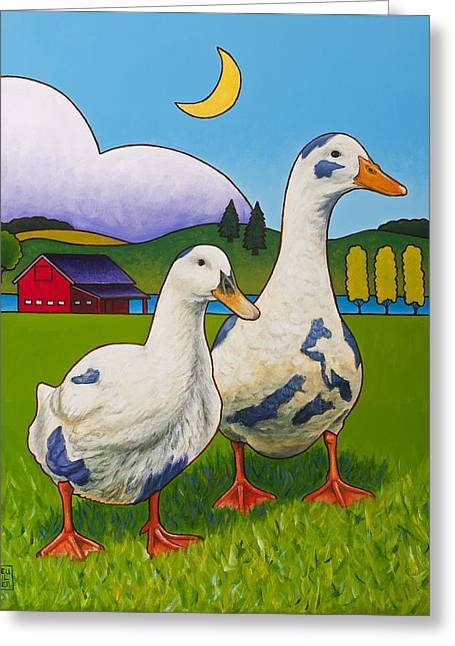 Barnyard Greeting Cards - Betsy and Walter of Whidbey Greeting Card by Stacey Neumiller