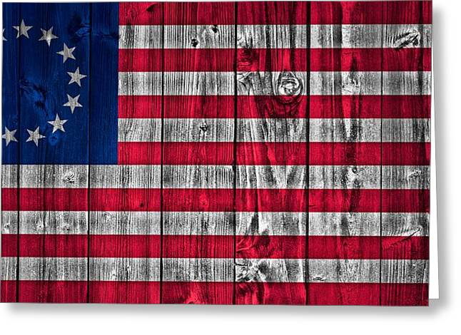 Betsy Greeting Cards - Betsy Ross American Flag Barn Greeting Card by Dan Sproul
