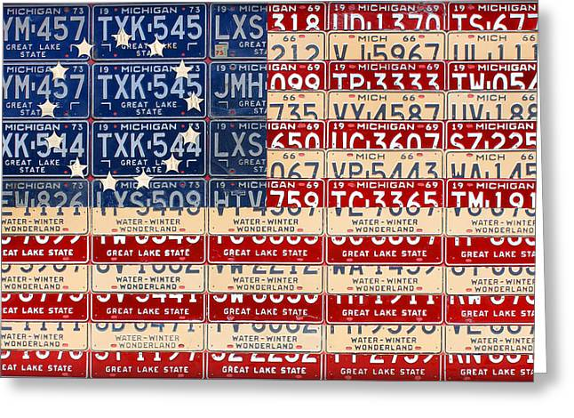 Betsy Greeting Cards - Betsy Ross American Flag Michigan License Plate Recycled Art on Red Board Greeting Card by Design Turnpike