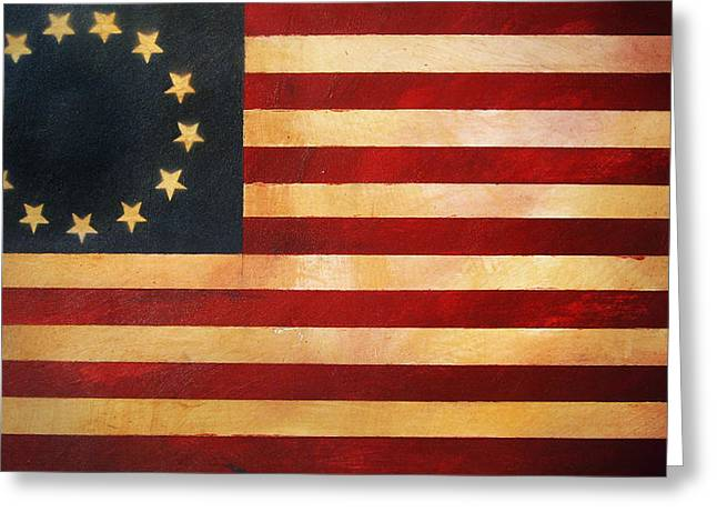 Betsy Ross Greeting Cards - Betsy Ross Flag Greeting Card by Adam Varga