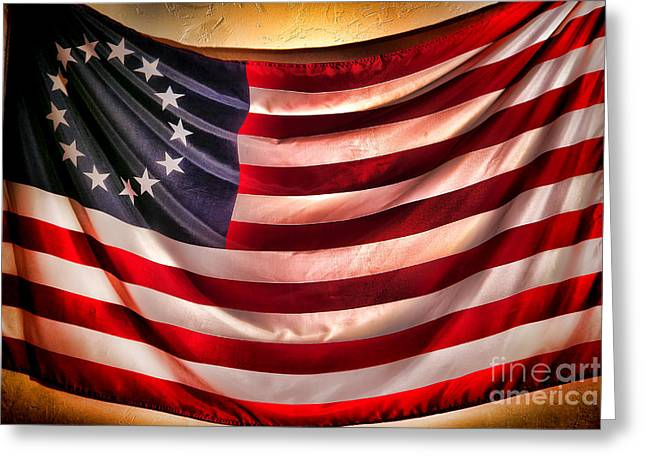 Betsy Ross Greeting Cards - Betsy Ross Flag Greeting Card by Olivier Le Queinec