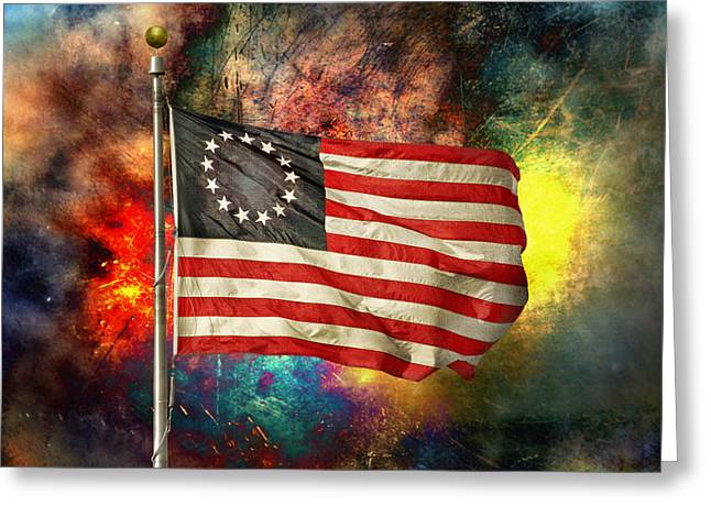 Recently Sold -  - Purchase Greeting Cards - Betsy Ross Flag Greeting Card by Steven  Michael