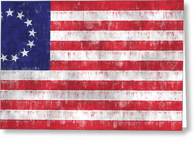 Betsy Ross Greeting Cards - Betsy Ross Flag Greeting Card by World Art Prints And Designs