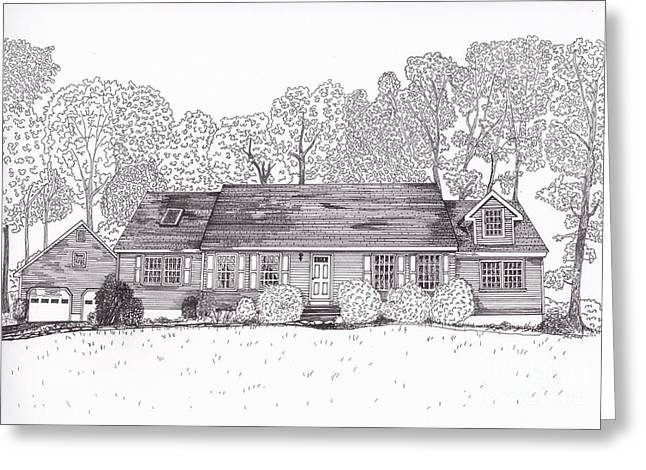 Pen And Ink Rural Drawings Greeting Cards - Betsys House Greeting Card by Michelle Welles