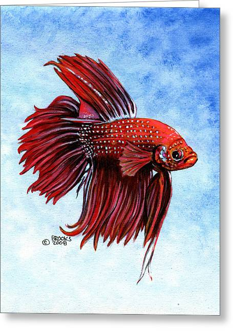 Betta Greeting Cards - Betta-Big Red Greeting Card by Richard Brooks