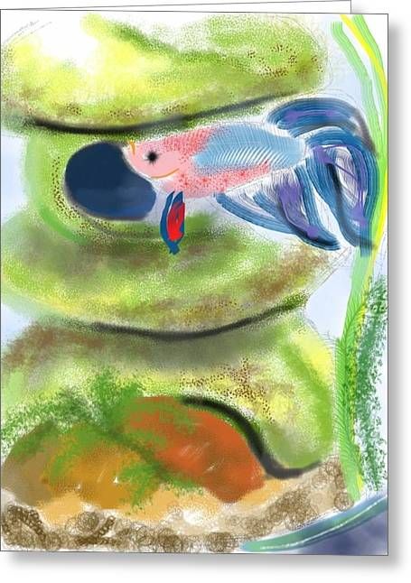 Betta Greeting Cards - Betta Fish and House Greeting Card by Lois Ivancin Tavaf