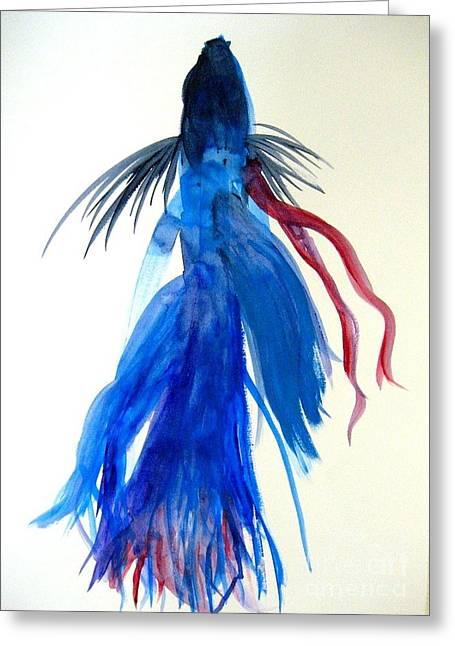 Betta Fish Watercolor Greeting Card by Jennifer Gaida