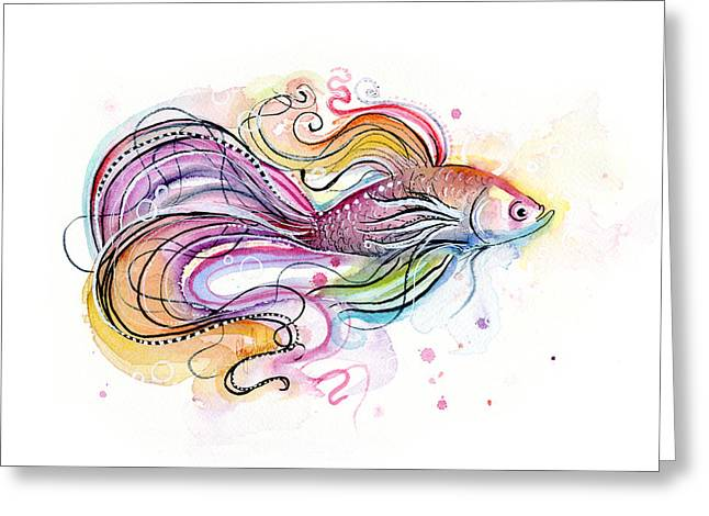 Doodle Greeting Cards - Betta Fish Watercolor Greeting Card by Olga Shvartsur