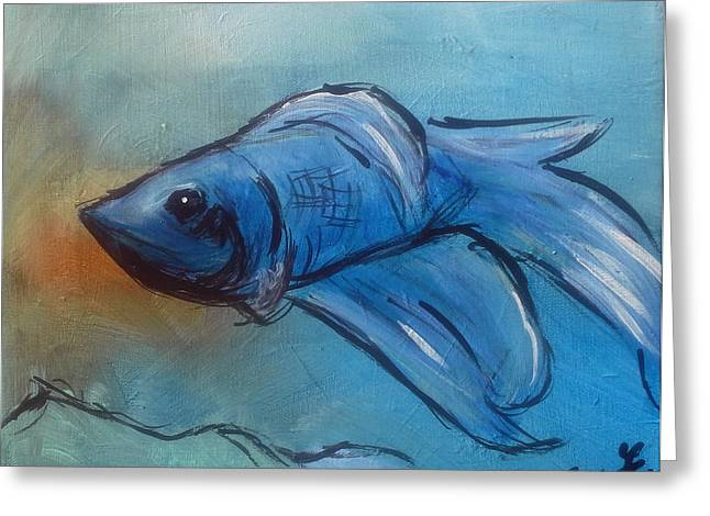Betta Paintings Greeting Cards - Betta Greeting Card by Loretta Nash