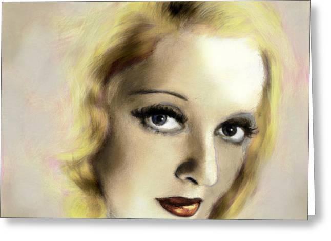 Aj Hansen Greeting Cards - Bette Davis Eyes Greeting Card by Arne Hansen
