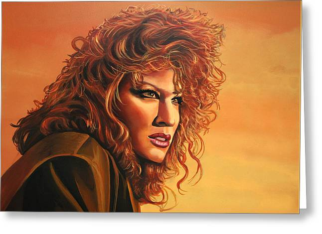 Singer Paintings Greeting Cards - Bette Midler Greeting Card by Paul  Meijering