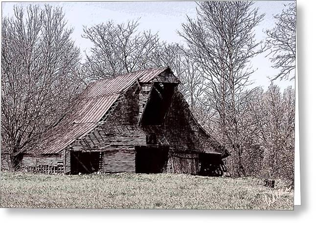 Old Barn Drawing Greeting Cards - Better Days Greeting Card by Bonnie Willis