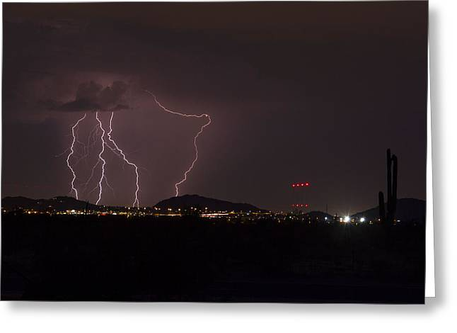 Scottsdale Lightning Greeting Cards - Better Than Nothing Greeting Card by Cathy Franklin