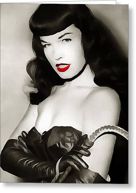 Pin-up Model Greeting Cards - Bettie Page Red Lipstick Greeting Card by Dan Sproul