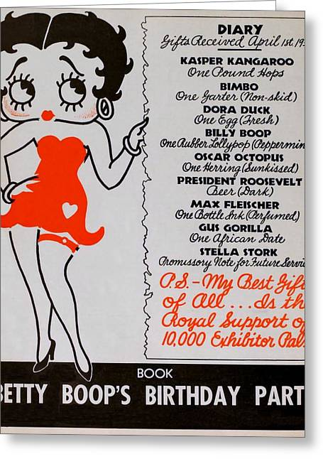 1933 Movies Greeting Cards - Betty Boop  - 1933 Birthday Greeting Card by Charles Ross