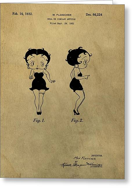 Curvaceous Greeting Cards - Betty Boop Design Patent Greeting Card by Dan Sproul