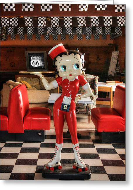 Waitress Greeting Cards - Betty Boop on Route 66 Greeting Card by Lori Deiter