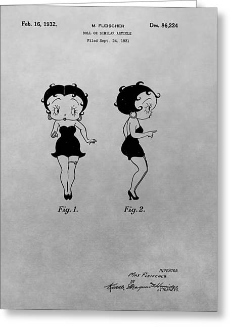 Curvaceous Greeting Cards - Betty Boop Patent Drawing Greeting Card by Dan Sproul