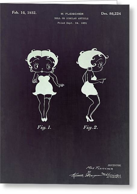 Self-designed Dress Greeting Cards - Betty Boop patent Greeting Card by Eti Reid