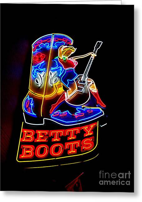 Broadway St Greeting Cards - Betty Boots Greeting Card by Eve Spring