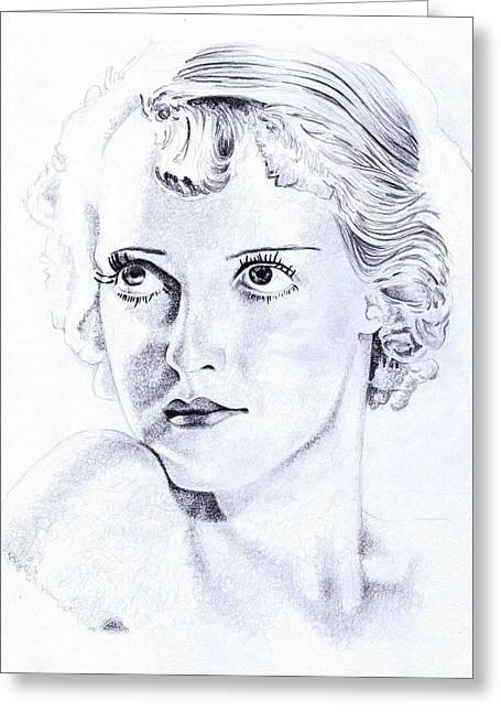 Starlet Drawings Greeting Cards - Betty Davis Eyes Greeting Card by Paul Smutylo