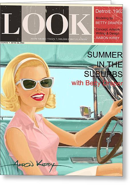 January Jones Greeting Cards - Betty Draper in Look Greeting Card by Aaron Kirby