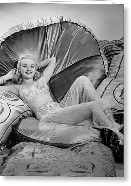 Grable Greeting Cards - Betty Grable Reclining Greeting Card by Studio Release