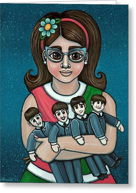 Sixties Music Greeting Cards - Betty Jeans BEATLES Greeting Card by Victoria De Almeida