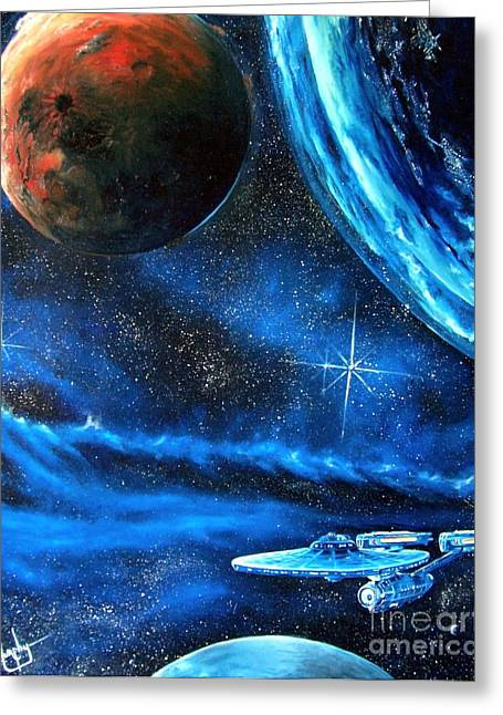 Alien Worlds Greeting Cards - Between Alien Worlds Greeting Card by Murphy Elliott