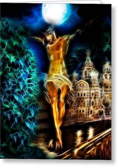 Jesus Crucifiction Framed Prints Greeting Cards - Between Heaven and Earth Greeting Card by Karen Showell