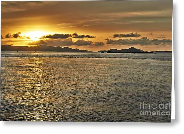U.s.s. Pyrography Greeting Cards - Between St. John and Thomas sunset Greeting Card by Eyzen M Kim