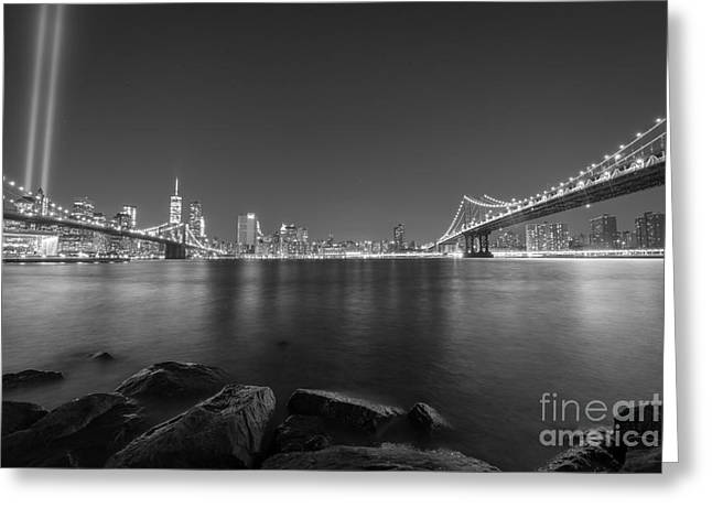 Manhatan Greeting Cards - Between The Bridges BnW Greeting Card by Michael Ver Sprill