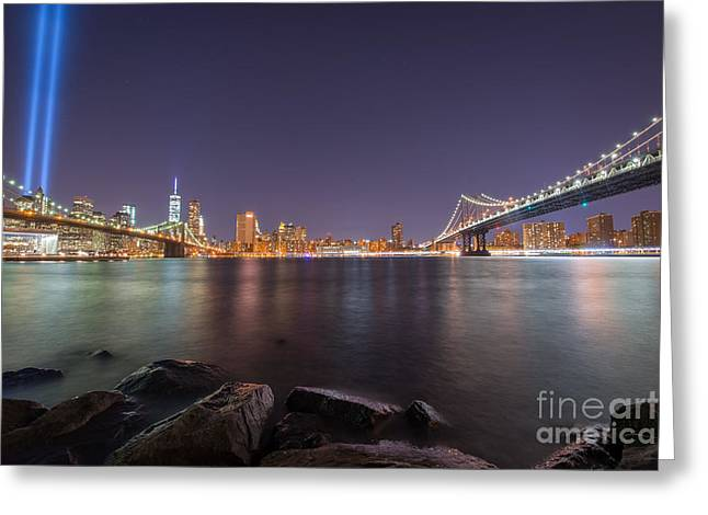Manhatan Greeting Cards - Between The Bridges  Greeting Card by Michael Ver Sprill