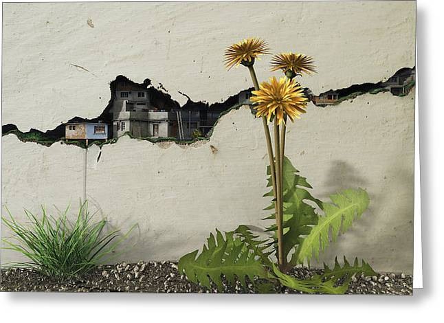 Between The Cracks Greeting Card by Cynthia Decker