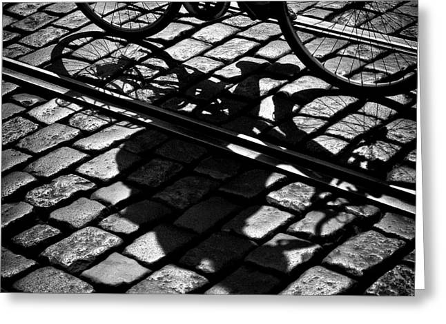 Cobblestone Greeting Cards - Between the Lines Greeting Card by Dave Bowman