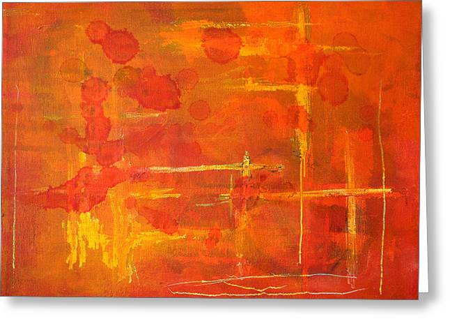 Recently Sold -  - Tangerine Greeting Cards - Between the Lines Greeting Card by Nancy Merkle