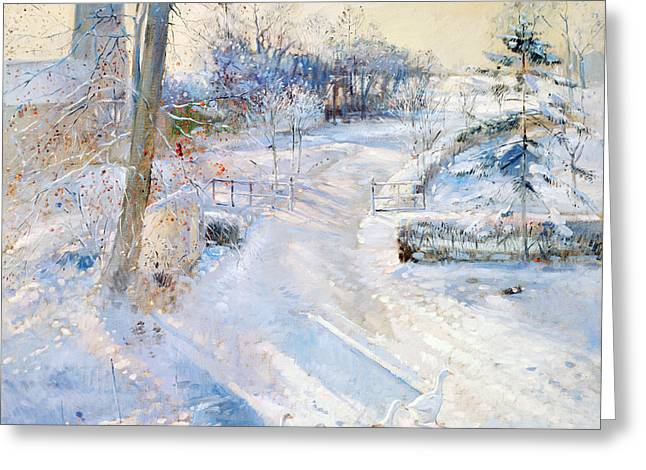 C20th Greeting Cards - Between The Shadows Oil On Canvas Greeting Card by Timothy Easton