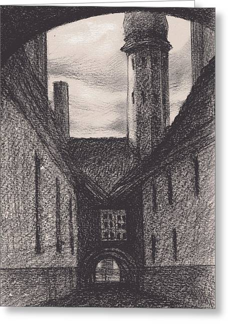 Tallinn Drawings Greeting Cards - Between Two Arches Greeting Card by Serge Yudin