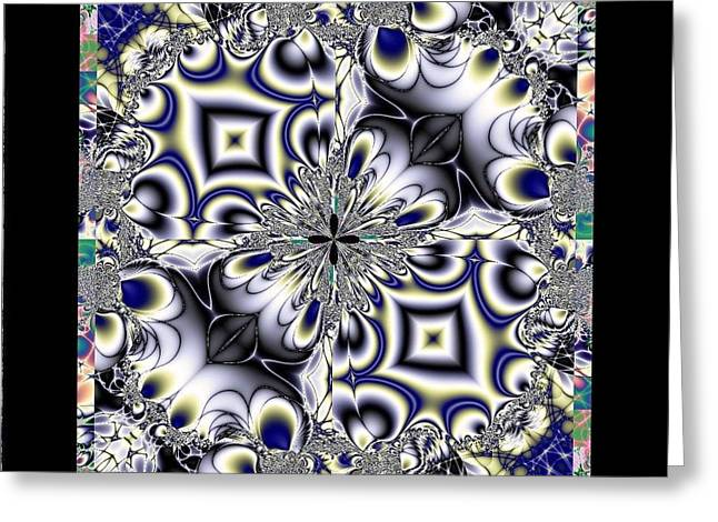 Bevel Greeting Cards - Beveled Glass Fractal Greeting Card by Maria Urso