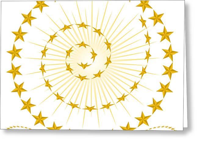 Bevel Greeting Cards - Beveled Gold Star Design Elements Greeting Card by John Takai