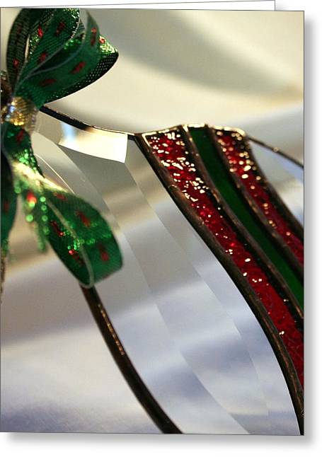 Christmas Greeting Glass Art Greeting Cards - Beveled holiday ornament Greeting Card by Marsha Painter
